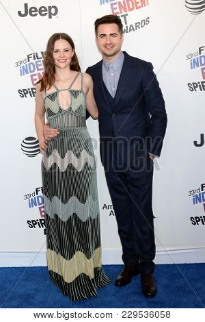 LOS ANGELES - MAR 3:  Sarah Ramos, Matt Spicer at the 2018 Film Independent Spirit Awards at the Beach on March 3, 2018 in Santa Monica, CA