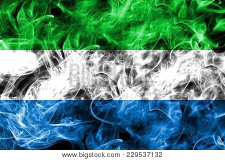 Sierra Leone Smoke Flag Isolated On A Black Background