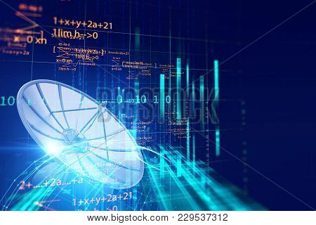3d Illustration Of Satellite Dish Transmission Data On Abstract Technology Background