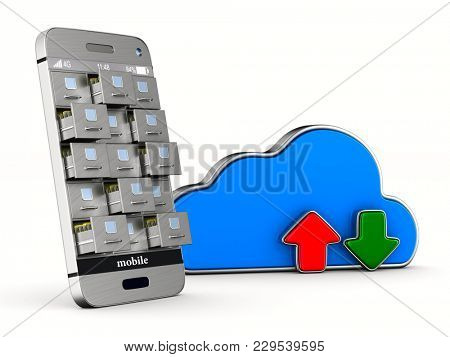 phone with filing cabinet and cloud on white background. Isolated 3D illustration