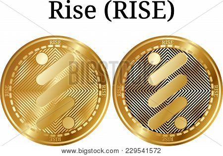 Set Of Physical Golden Coin Rise (rise), Digital Cryptocurrency. Rise (rise) Icon Set. Vector Illust