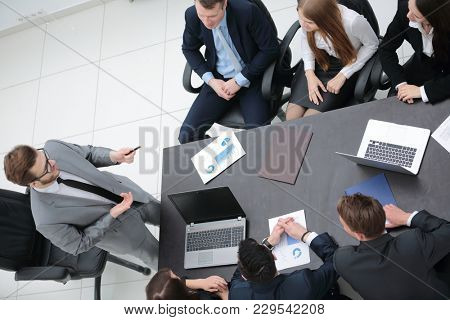 view from the top. business team holds a briefing