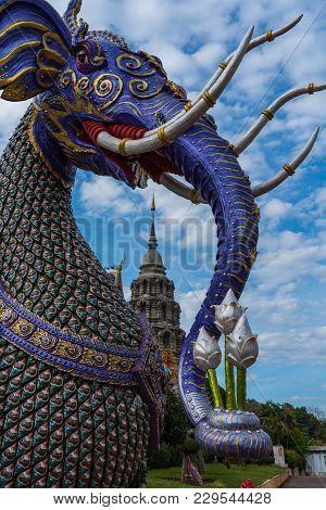 Thai Literature Animal Sculpture Decorated In Grand Blue Temple (wat Ban Den) Beautiful Temple, Trav