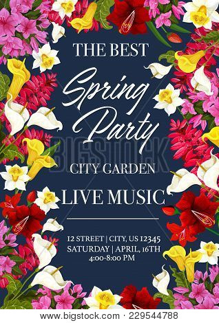 Spring Time Music Festival Invitation Poster Or Card For City Garden Seasonal Holiday Event. Vector