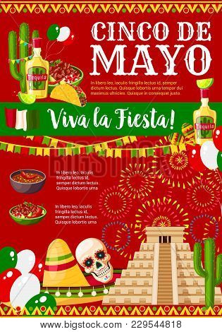 Cinco De Mayo Greeting Card For Mexican Holiday Fiesta Party Celebration Of Traditional Symbols Jala