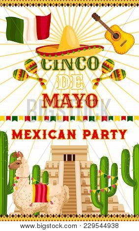 Cinco De Mayo Party Invitation Card Or Poster For Mexican Traditional Holiday Fiesta Celebration. Ve