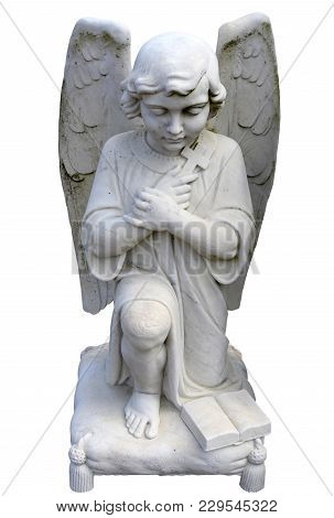 Kneeling Angel Praying Front View Isolated Statue