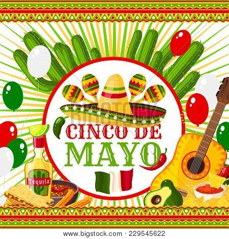 Cinco De Mayo Festive Vector Mexican Holiday Poster With Hat, Chili, Maracas And Guitar. Cinco De Ma