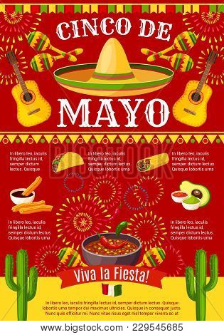 Cinco De Mayo Mexican Greeting Card Poster For Mexico Holiday Celebration. Vector Design Of Mexican