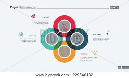 Quadruple Intersect Slide Template. Business Data. Graph, Diagram. Creative Concept For Infographic,