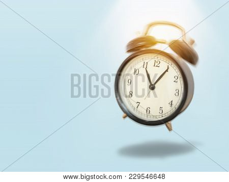 Black Vintage Alarm Clock With Movement Shaking And Make A Noise In The Morning With Lighting Shine