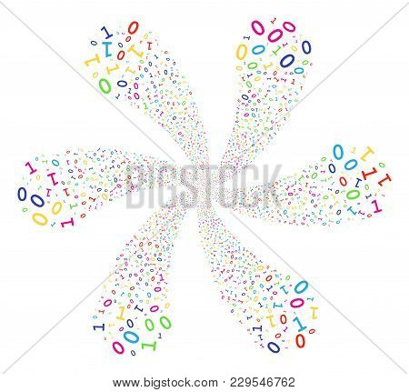 Multicolored Binary Digits Rotation Flower Shape. Psychedelic Cluster Designed From Scattered Binary