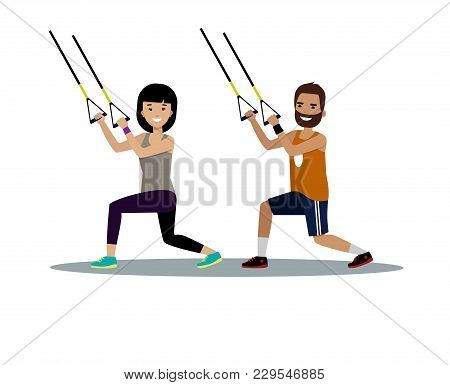 Vector Of Happy Bearded Man And Young Woman Training With Straps In Gym And Smiling. Fitness, Workou