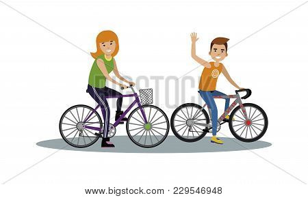 Vector Of Happy Young Man And Woman Riding Bicycles, Man Waving. Sporty Couple, Active Life, Leisure