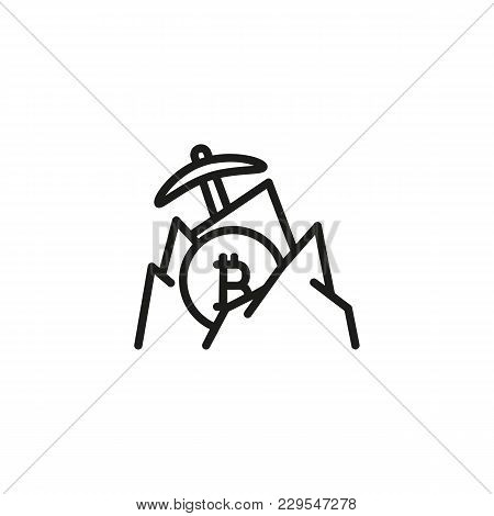 Icon Of Bitcoin Mining. Digital Money, Pickaxe, Mountains. Cryptocurrency Concept. Can Be Used For T