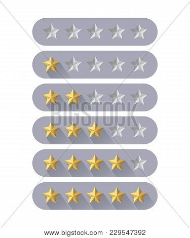 Five Star Rating Icon. Vector Rating Signs In Flat Design Style
