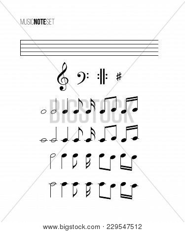 Music Note Set. Vector Different Music Notes, Stave, Treble And Bass Clefs