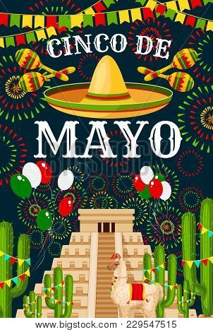 Cinco De Mayo Greeting Card For Mexican Traditional Holiday Fiesta Party Celebration. Vector Sombrer