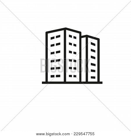 Icon Of Residential Apartment Buildings. Dwelling, Housing Unit, Tower Block. Architecture Concept.