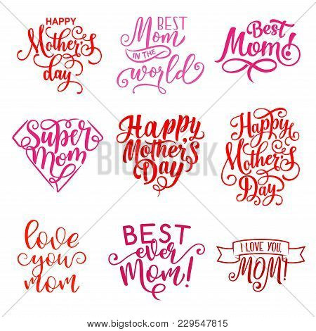 Happy Mothers Day Hand Drawn Calligraphy Text For Greeting Card Wishes. Vector Mother Day Celebratio