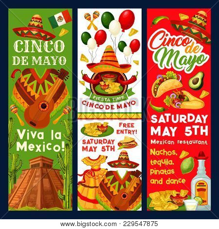 Cinco De Mayo Mexican Party Invitation Banners Or Holiday Fiesta Flyers For Traditional Mexican Cele