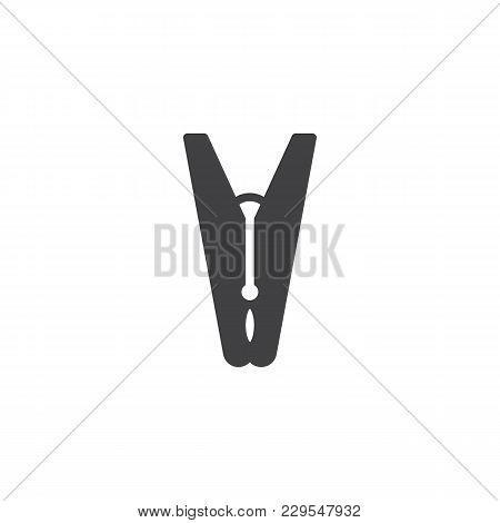 Clothes Pin Vector Icon. Filled Flat Sign For Mobile Concept And Web Design. Peg Simple Solid Icon.
