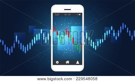 Smart Phone Screen Showing Financial  And Candlestick Graph Charts Climbing Up Presentations Templat