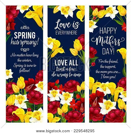 Mother Day Spring Flower Banner For Springtime Season Holiday Greeting Card Template. Yellow Daffodi