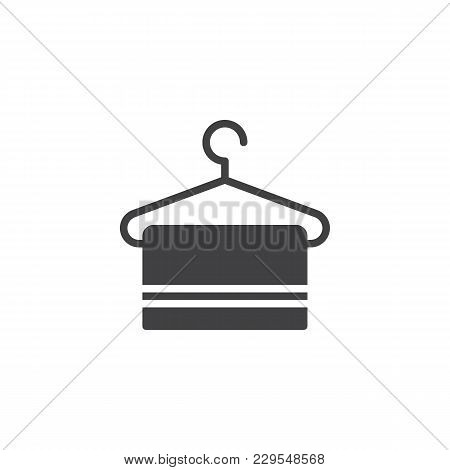 Hanger With Towel Vector Icon. Filled Flat Sign For Mobile Concept And Web Design. Clothes Hanger Si