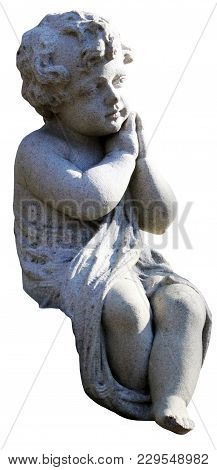 A Serene Cherub Statue On An Isolated White Background