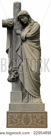 Mourning Girl Hugging Cross Statue On Isolated Background