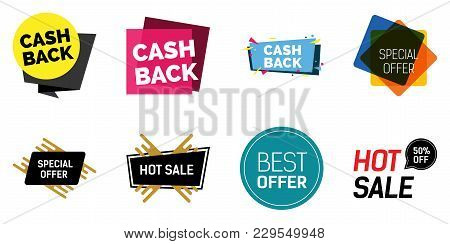 Cash Back Lettering Set. Special Offer, Hot Sale Phrases, Shopping, Retail, Announcement. Calligraph