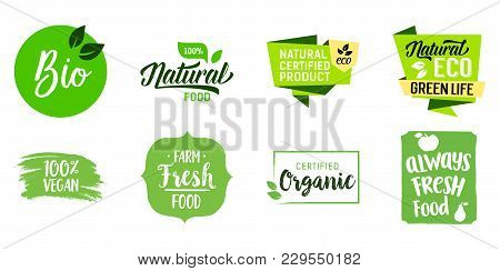 Fresh Ecological Food Lettering Set. Farm, Fresh, Certified, Organic Product, Vegan, Green Life. Cal
