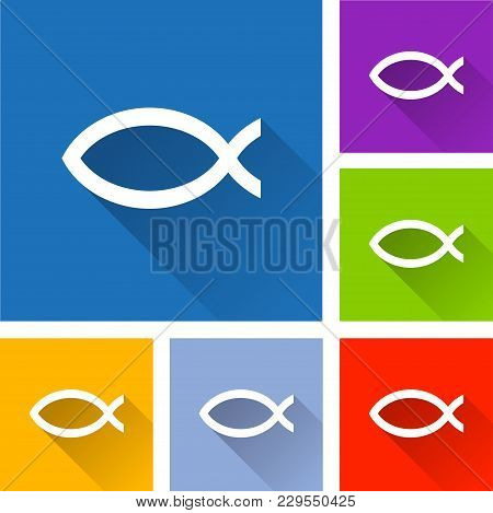 Illustration Of Jesus Fish Icons With Shadow