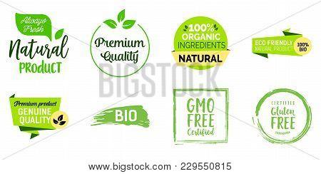 Premium Quality Food Lettering Set. Premium Quality, Organic Ingredients, Natural Products. Calligra