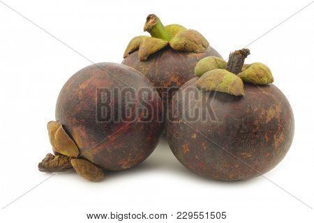 mangosteen fruits (Garcinia mangostana linn) on a white background