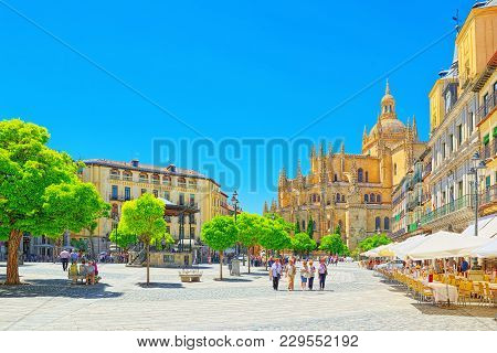 Landscape Of The Cathedral Of Segovia, And Main Square (plaza Ma