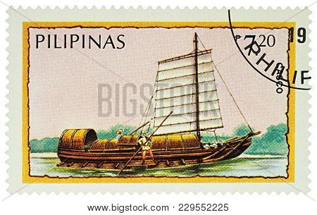 Moscow, Russia - March 04, 2018: A Stamp Printed In Philippines Shows Philippine Boat Casco, Series