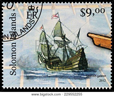 Moscow, Russia - March 04, 2018: A Stamp Printed In Solomon Islands Shows Sailing Ship - Spanish Gal