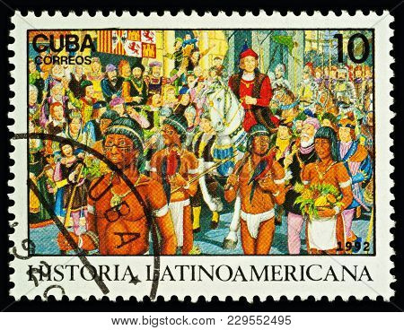Moscow, Russia - March 02, 2018: A Stamp Printed In Cuba Shows Christopher Columbus Welcomed In Barc