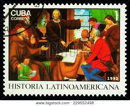 Moscow, Russia - March 04, 2018: A Stamp Printed In Cuba Shows Christopher Columbus Explaining His P