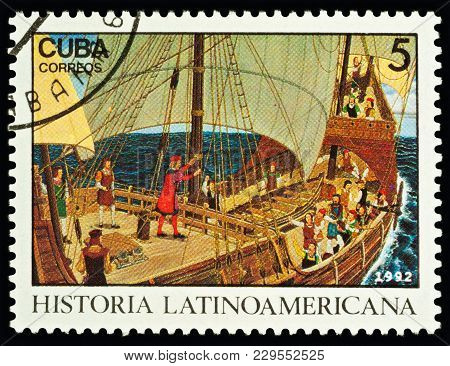 Moscow, Russia - March 04, 2018: A Stamp Printed In Cuba Shows Christopher Columbus Speaking To Crew