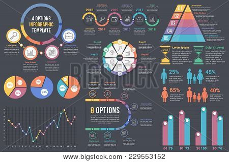 Infographic Elements On Dark Background - Bar And Line Charts, Pie Charts, Steps, Options, Timeline,