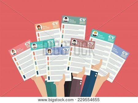 Hands Holding Cv Resume Documents. Applying For Job