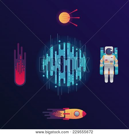 Vector Illustration Of Sci-fi Planet, Rocket, Astronaut, Space Satellite And Meteor Or Comet In Spac