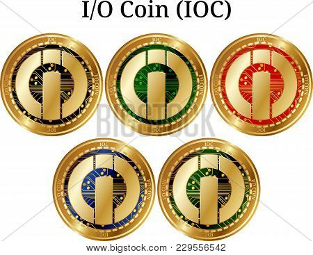 Set Of Physical Golden Coin I-o Coin (ioc), Digital Cryptocurrency. I-o Coin (ioc) Icon Set. Vector