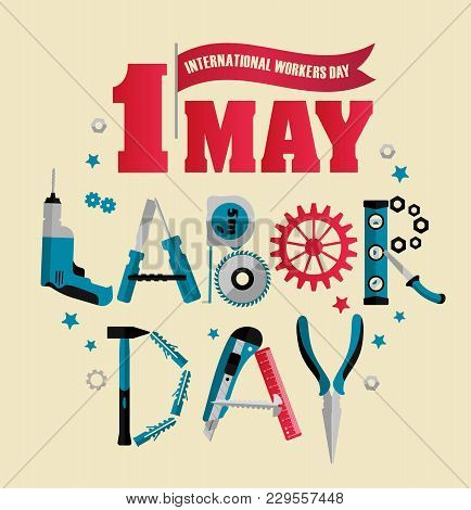 1 May Labour Day Poster Or Banner. Vector Banner Illustration