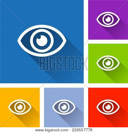 Illustration Of Eye Icons With Long Shadow