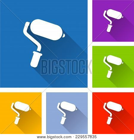 Illustration Of Paint Roller Icons With Shadow