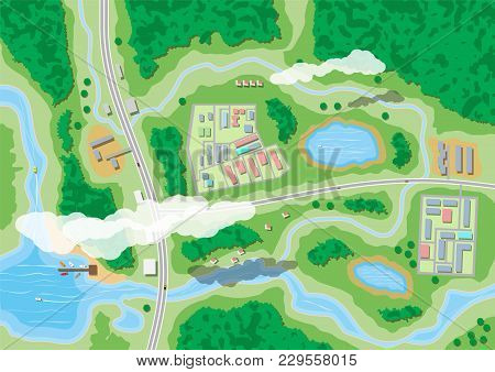 Suburban Map With Houses With Car, Boats, Trees, Road, River, Forest, Lake And Clouds. Village Aeria